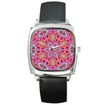 Pink Kaleidescope Fractal Square Metal Watch