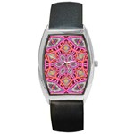 Pink Kaleidescope Fractal Barrel Style Metal Watch