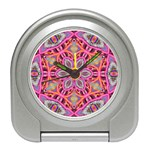 Pink Kaleidescope Fractal Travel Alarm Clock
