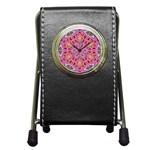 Pink Kaleidescope Fractal Pen Holder Desk Clock