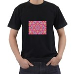 Pink Kaleidescope Fractal Black T-Shirt (Two Sides)