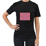 Pink Kaleidescope Fractal Women s Black T-Shirt (Two Sides)