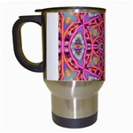 Pink Kaleidescope Fractal Travel Mug (White)