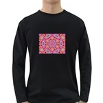 Pink Kaleidescope Fractal Long Sleeve Dark T-Shirt