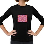 Pink Kaleidescope Fractal Women s Long Sleeve Dark T-Shirt