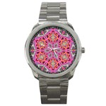 Pink Kaleidescope Fractal Sport Metal Watch