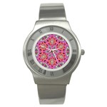 Pink Kaleidescope Fractal Stainless Steel Watch