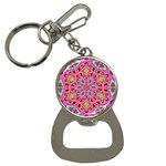 Pink Kaleidescope Fractal Bottle Opener Key Chain
