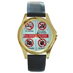 Subway_sign Round Gold Metal Watch