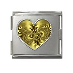 gold-260221 Mega Link Heart Italian Charm (18mm)