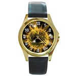 ikon06b-42458 Round Gold Metal Watch