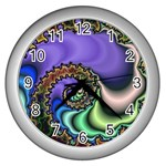 Colorfull_Fractal-215042 Wall Clock (Silver)
