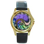Colorfull_Fractal-215042 Round Gold Metal Watch
