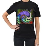 Colorfull_Fractal-215042 Women s Black T-Shirt