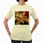 abstract-flowers-984772 Women s Yellow T-Shirt