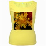 abstract-flowers-984772 Women s Yellow Tank Top