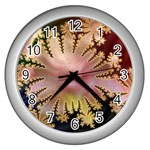abstract-flowers-984772 Wall Clock (Silver)