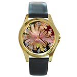 abstract-flowers-984772 Round Gold Metal Watch