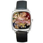 abstract-flowers-984772 Square Metal Watch