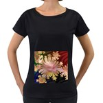 abstract-flowers-984772 Maternity Black T-Shirt