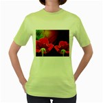 2_Shiny_Roses-77215 Women s Green T-Shirt