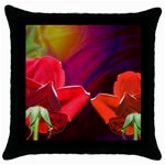 2_Shiny_Roses-77215 Throw Pillow Case (Black)