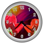 2_Shiny_Roses-77215 Wall Clock (Silver)