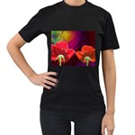 2_Shiny_Roses-77215 Women s Black T-Shirt (Two Sides)