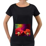 2_Shiny_Roses-77215 Maternity Black T-Shirt