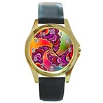 Cool_Fractal-818879 Round Gold Metal Watch