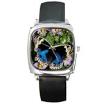 butterfly_4 Square Metal Watch