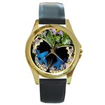 butterfly_4 Round Gold Metal Watch