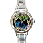 butterfly_4 Round Italian Charm Watch