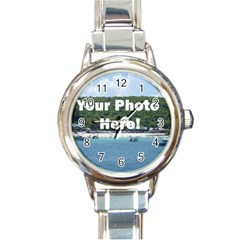 Personalised Photo Round Italian Charm Watch from SnappyGifts.co.uk Front