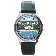 Personalised Photo Round Metal Watch from SnappyGifts.co.uk Front