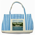 Personalised Photo Striped Blue Tote Bag