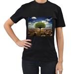 4-908-Desktopography1 Women s Black T-Shirt (Two Sides)