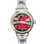 True-Love-Tattoo-Belt-Buckle Round Italian Charm Watch