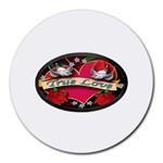 True-Love-Tattoo-Belt-Buckle Round Mousepad