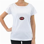 True-Love-Tattoo-Belt-Buckle Maternity White T-Shirt