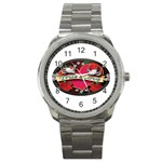 True-Love-Tattoo-Belt-Buckle Sport Metal Watch