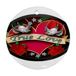 True-Love-Tattoo-Belt-Buckle Round Ornament (Two Sides)
