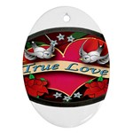 True-Love-Tattoo-Belt-Buckle Oval Ornament (Two Sides)
