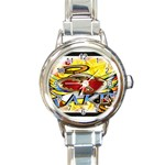 Taken-Tattoo-Belt-Buckle Round Italian Charm Watch