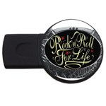 Rock-n-Roll-For-Life-Tattoo-Belt-Buckle USB Flash Drive Round (1 GB)