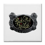 Rock-n-Roll-For-Life-Tattoo-Belt-Buckle Tile Coaster