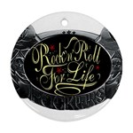 Rock-n-Roll-For-Life-Tattoo-Belt-Buckle Round Ornament (Two Sides)