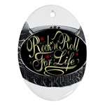 Rock-n-Roll-For-Life-Tattoo-Belt-Buckle Oval Ornament (Two Sides)
