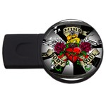 Oval-Black-Mind_-Body-and-Soul-Tattoo-Belt-Buckle USB Flash Drive Round (2 GB)