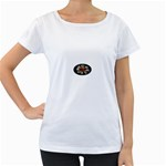 Oval-Black-Mind_-Body-and-Soul-Tattoo-Belt-Buckle Maternity White T-Shirt